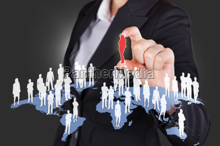 businesswoman selecting candidate from all over