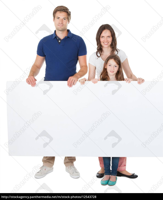 confident, family, holding, blank, billboard - 12543728
