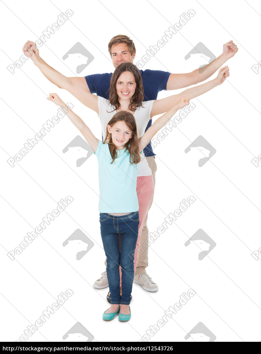 happy, family, with, arms, raised, standing - 12543726
