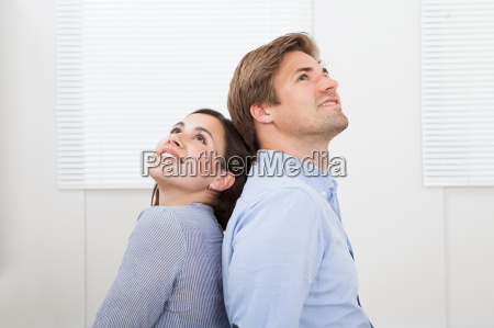 couple looking up at home