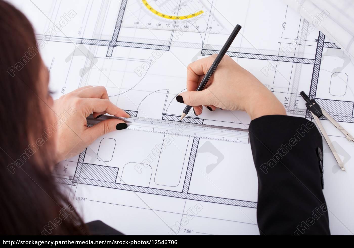 businesswoman, making, blueprint - 12546706