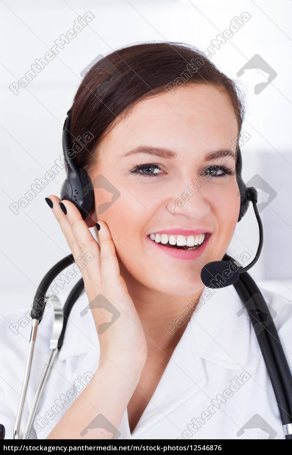 confident, female, doctor, wearing, headset - 12546876