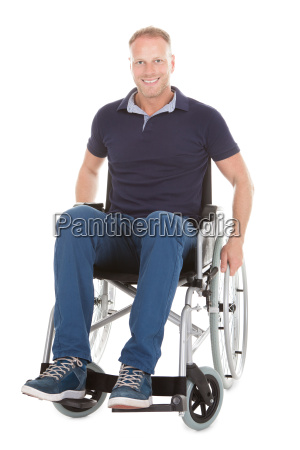 portrait of disabled man on wheelchair