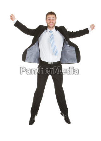 portrait of businessman celebrating success
