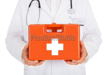 doctor, holding, first, aid, kit, box - 12547248