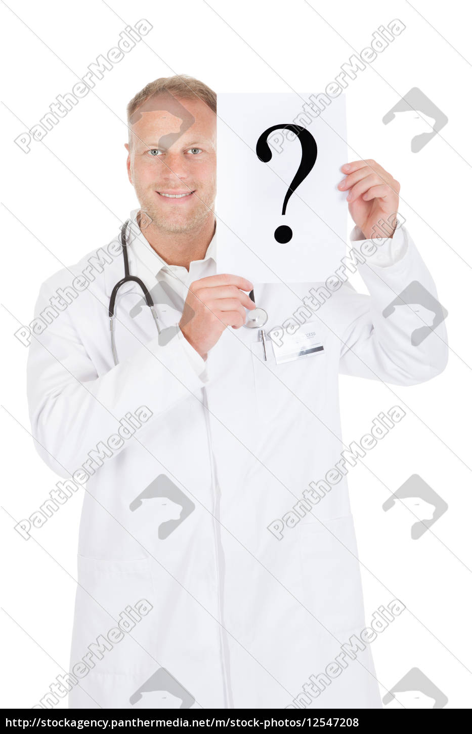 doctor, holding, paper, with, question, mark - 12547208