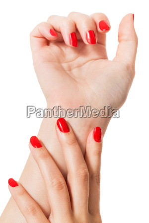 womens hands insulated with beautiful well