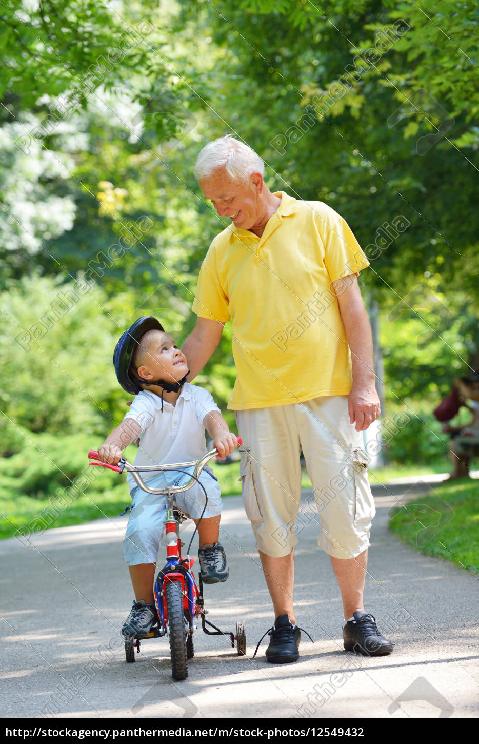 happy, grandfather, and, child, in, park - 12549432