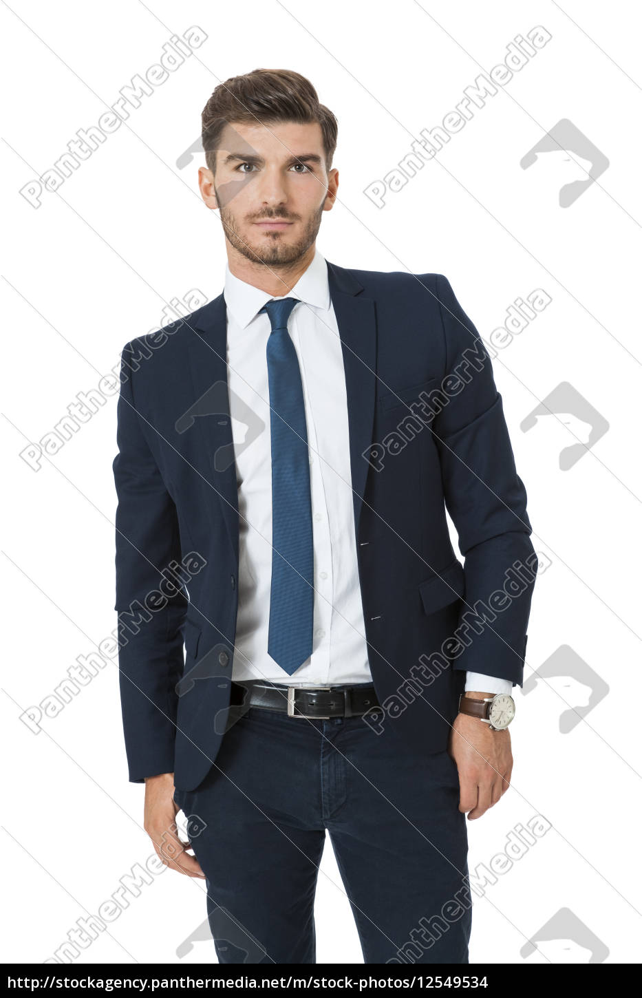 successful, young, businessman, standing, isolated, in - 12549534
