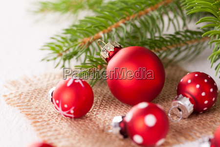 beautiful, red, christmas, balls, with, small - 12550254