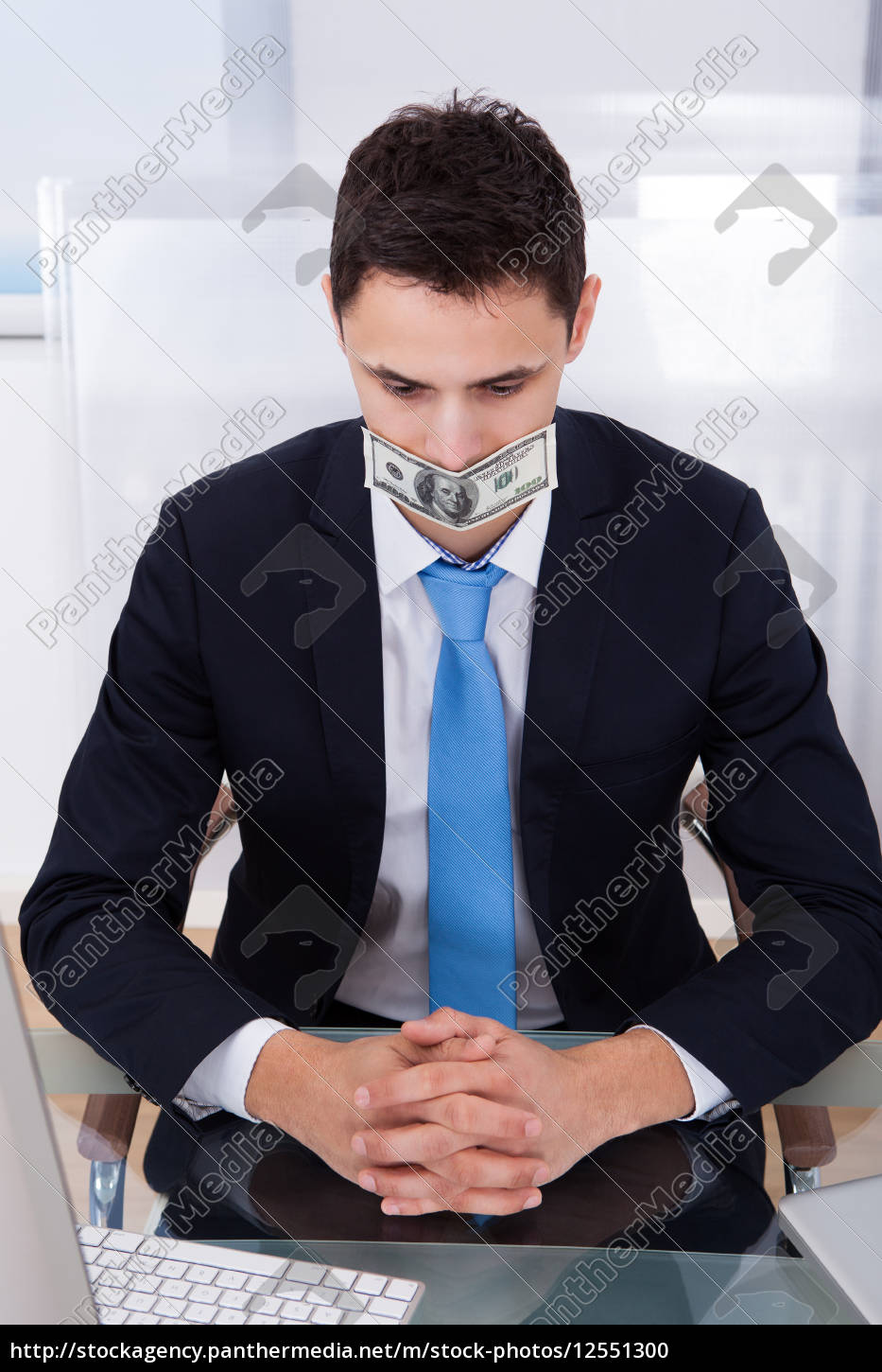 businessman, with, dollar, bill, covering, mouth - 12551300