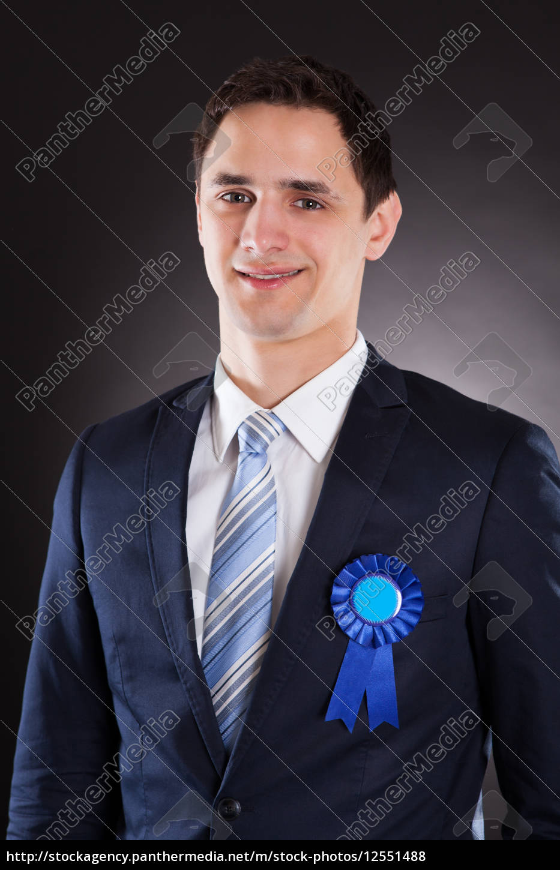 handsome, businessman, wearing, blue, ribbon - 12551488