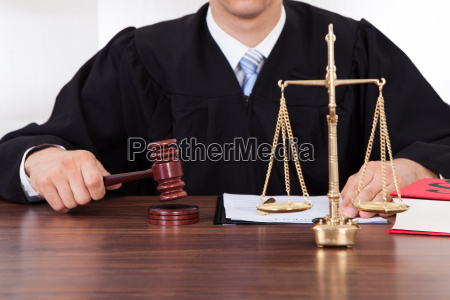 judge, with, mallet, and, weight, scale - 12551646