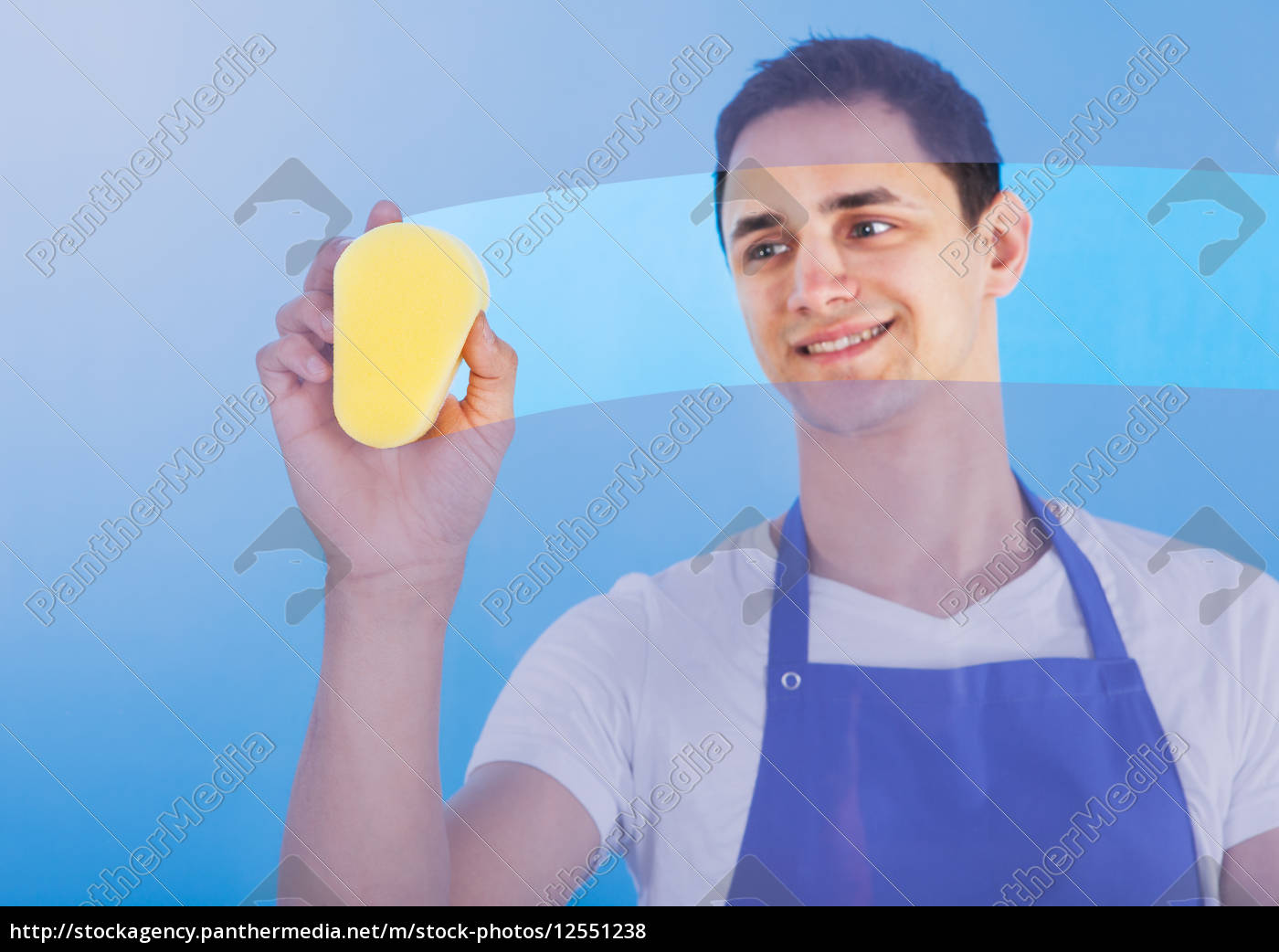 male, servant, cleaning, glass, with, sponge - 12551238