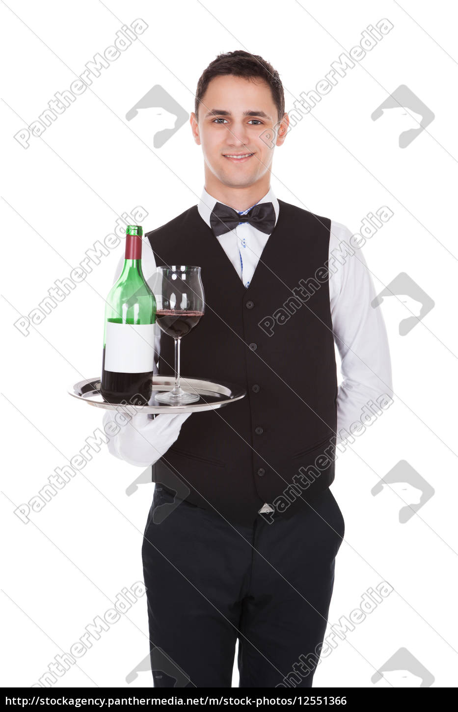 waiter, holding, tray, with, glass, of - 12551366