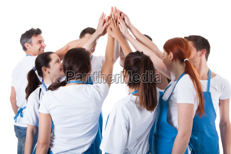 group of cleaners making high five