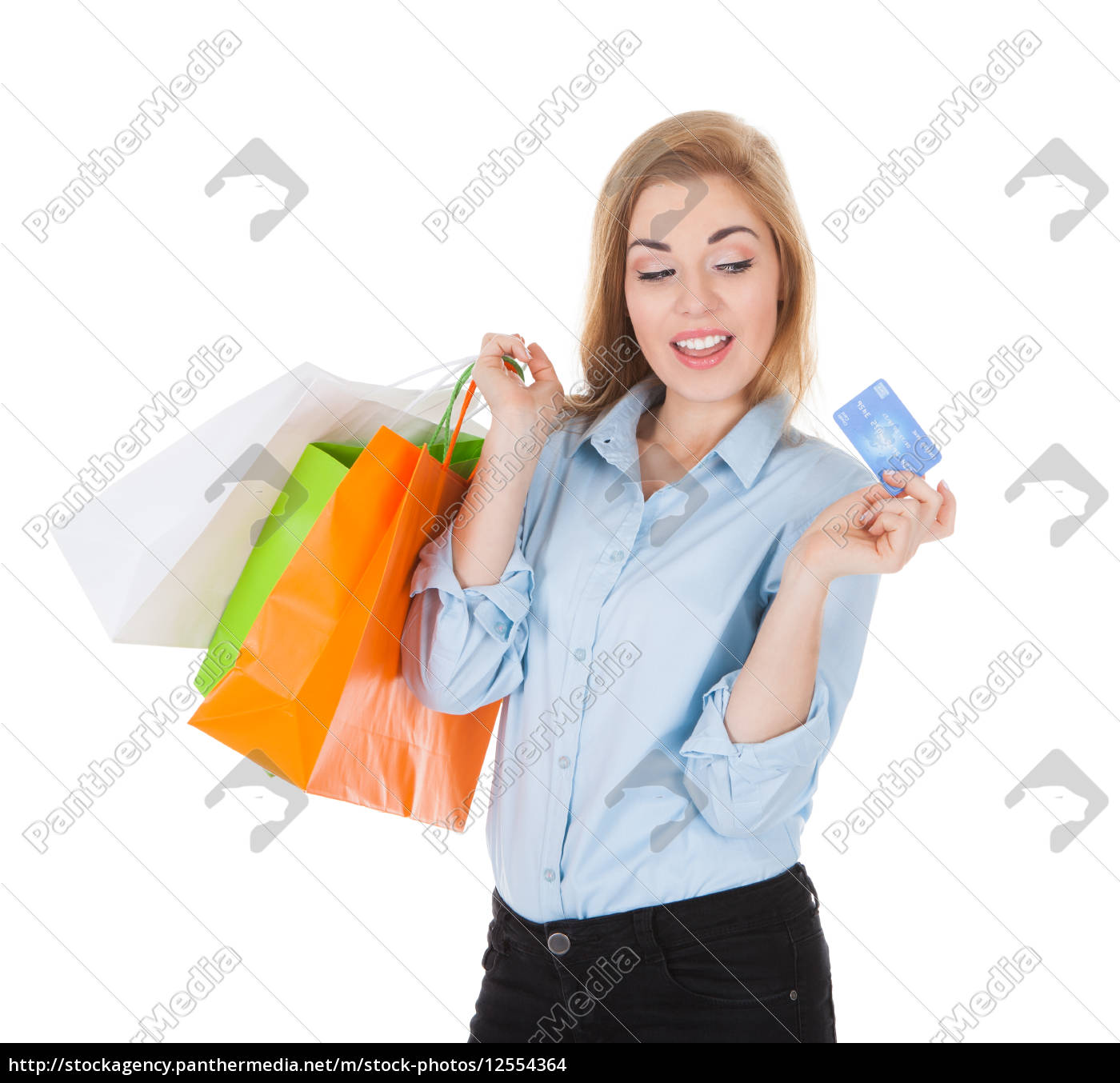 woman, with, shopping, bags, holding, credit - 12554364