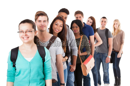 multiethnic university students standing in a