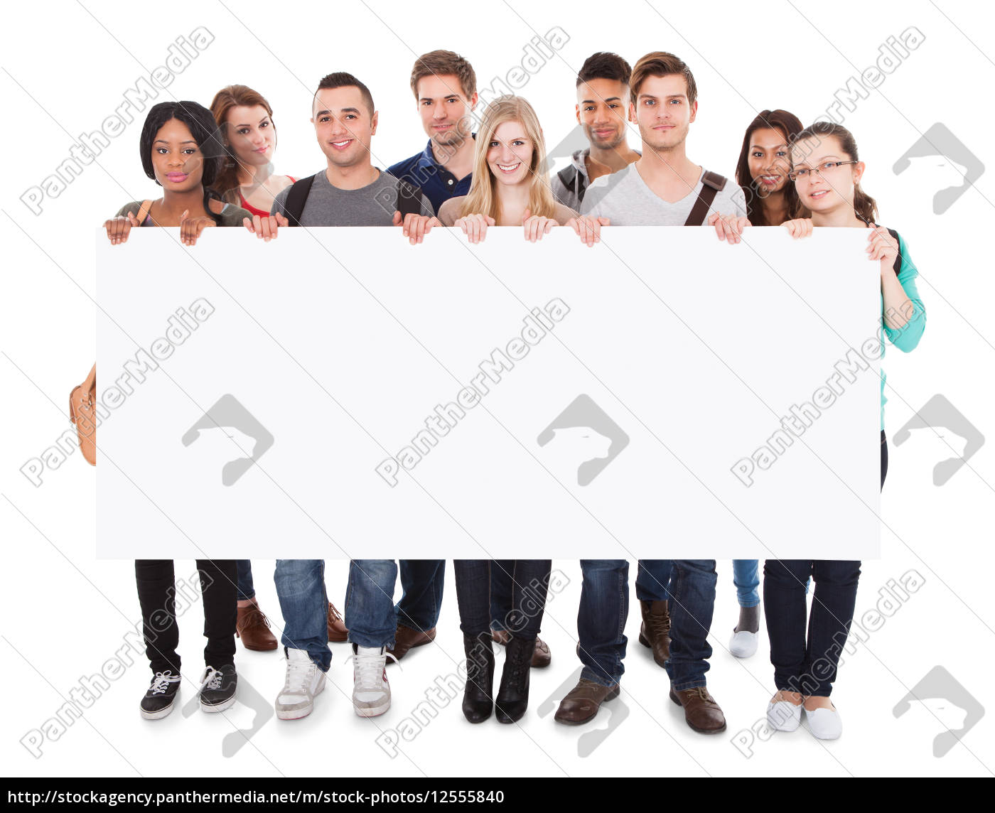 college, students, displaying, blank, billboard - 12555840