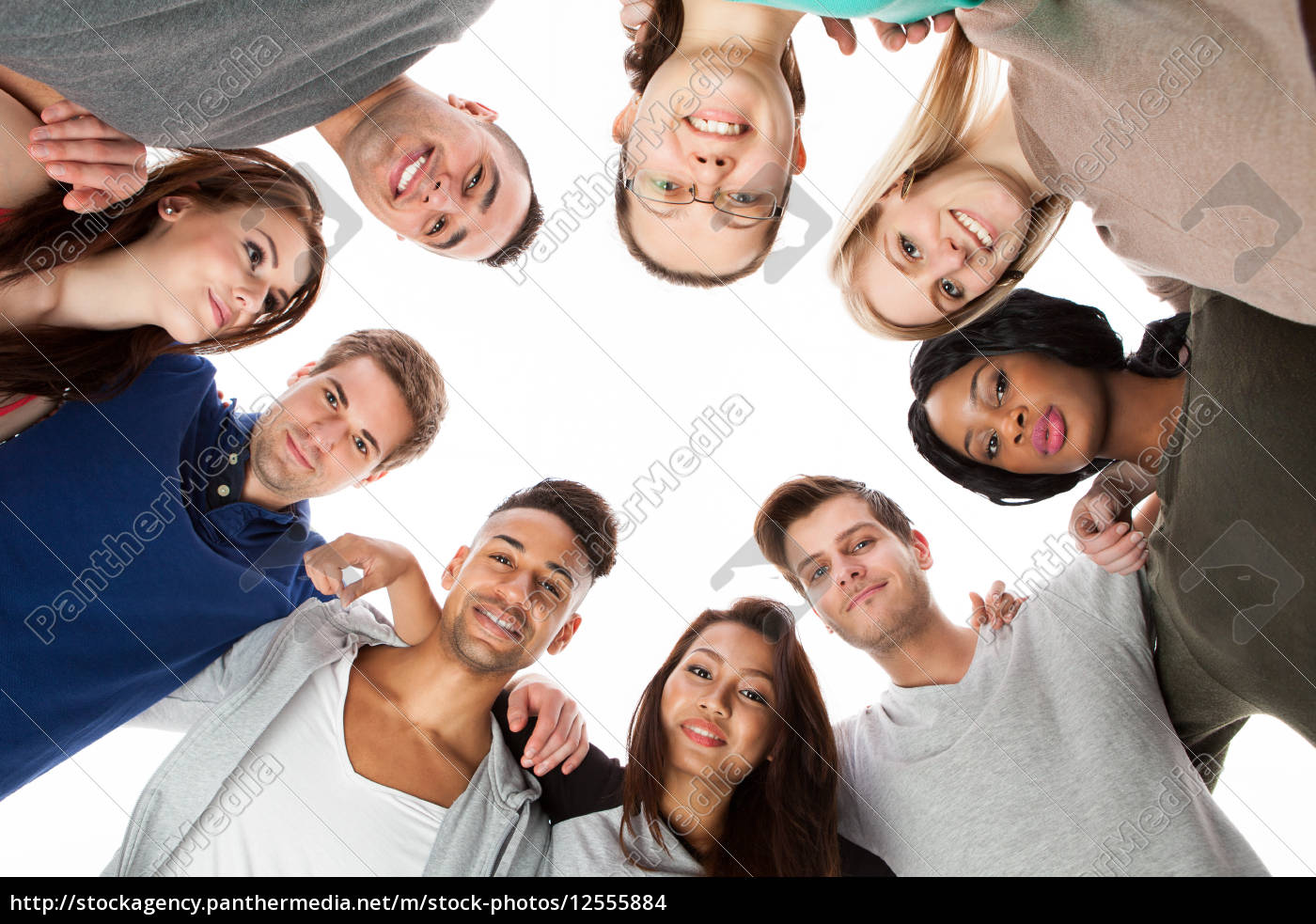 confident, college, students, forming, huddle - 12555884