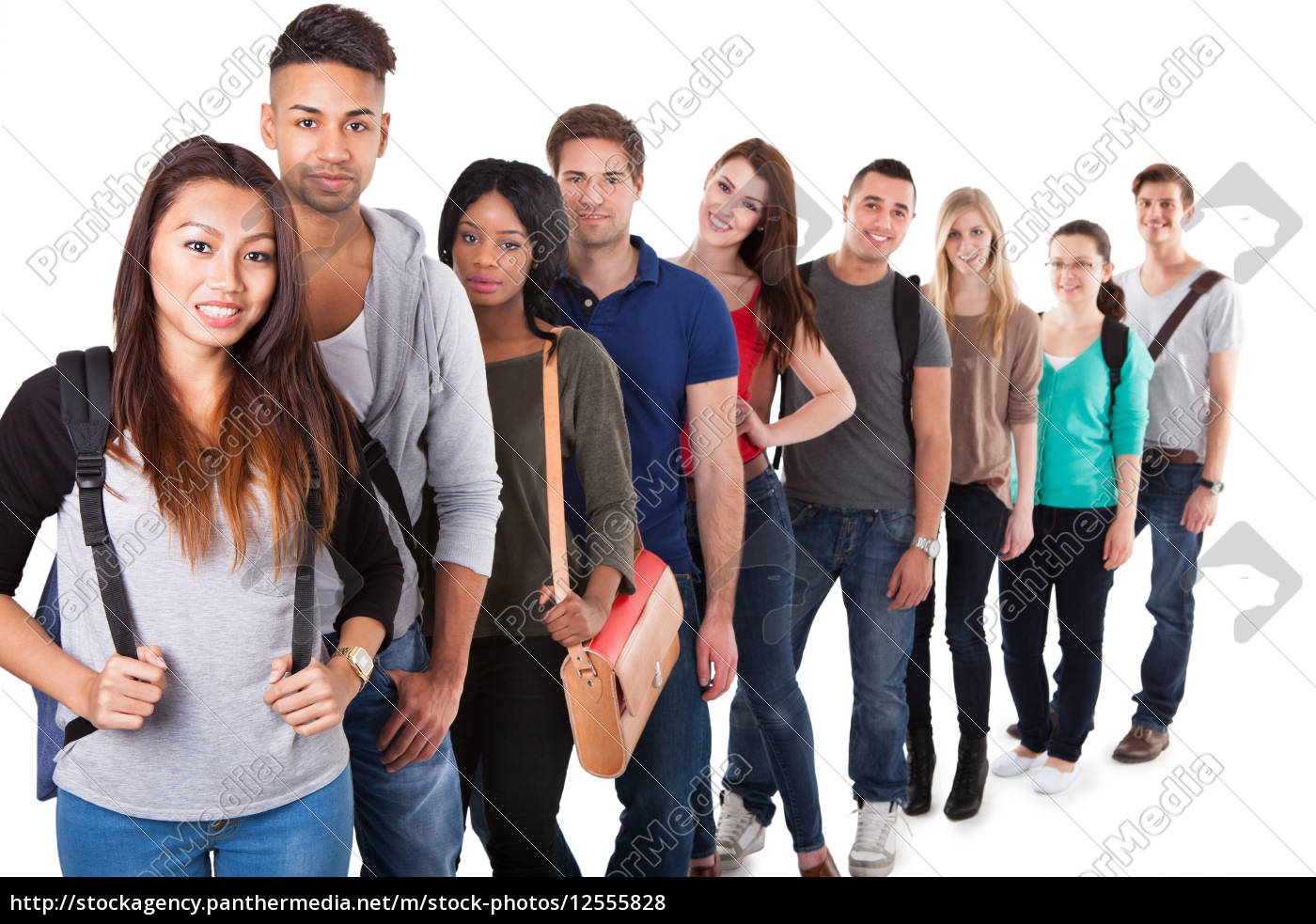 portrait, of, college, students, standing, in - 12555828