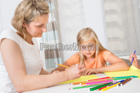 mother, and, daughter, drawing, together - 12556192