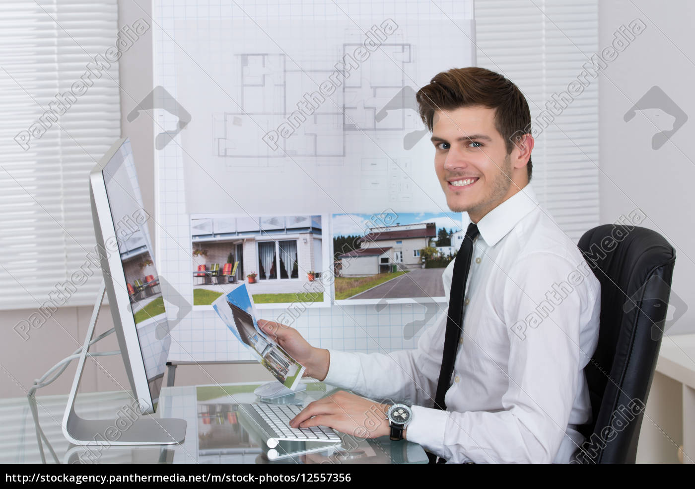 real, estate, agent, working, on, computer - 12557356