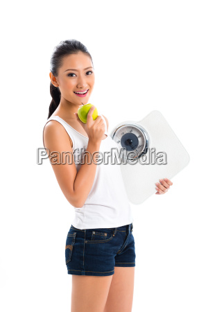 asian woman losing weight with diet