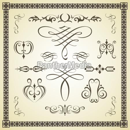 calligraphic calligraphy frame graphic greeting vintage