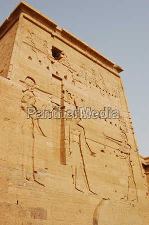 carving isis horus and pharaoh on