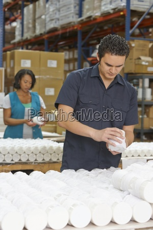 factory, worker, checking, goods, on, production - 12564052