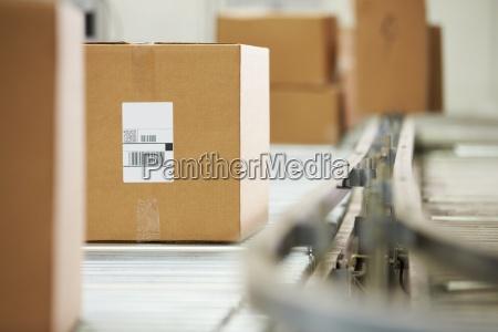 goods on conveyor belt in distribution