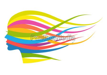 multicolor hair woman