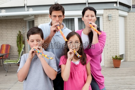 young family enjoying themselves in their