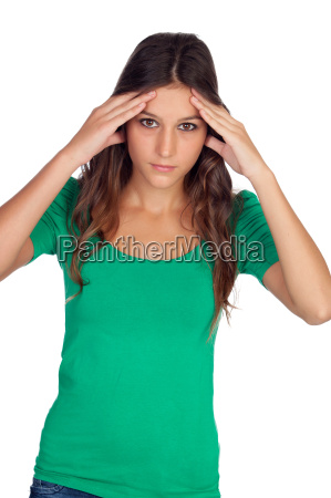 casual girl with headache