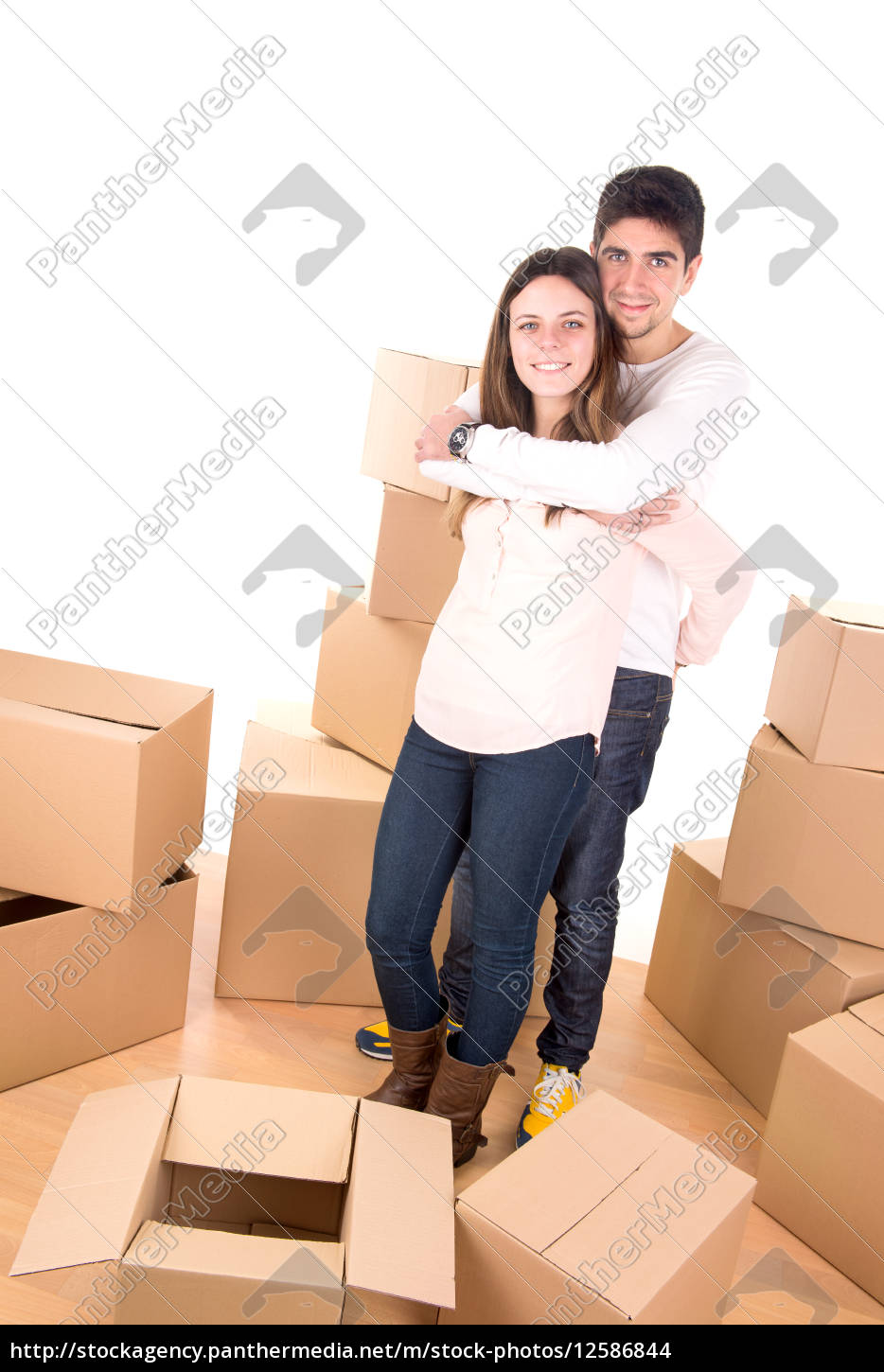 happy, couple, with, boxes - 12586844