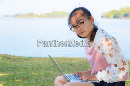 young girl with laptop on the