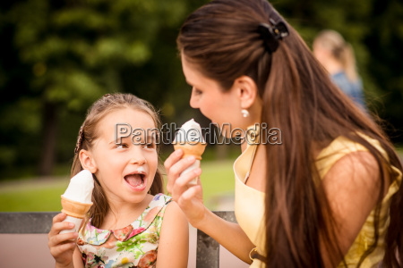 mother and child enjoying icecream