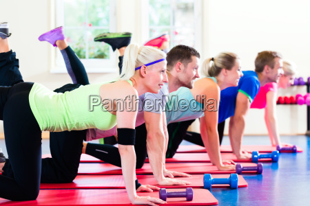 fitness group in the studio with