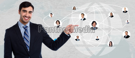 smiling businessman with network freinds
