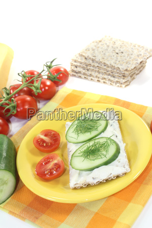 crispbread with cream cheese and dill