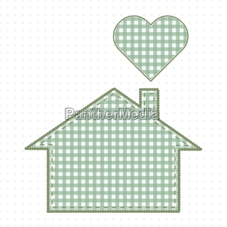 house and heart needlework cute baby