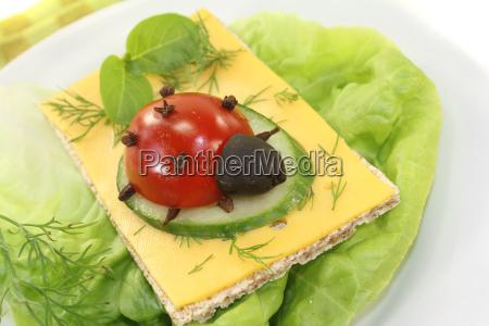 crispbread with cheese basil and ladybug