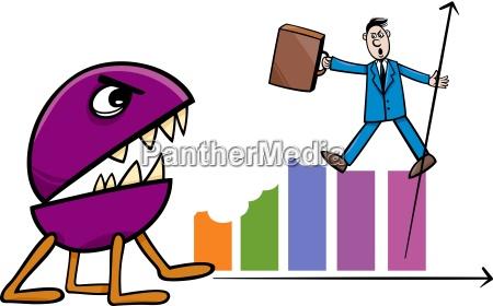 recession in business cartoon illustration