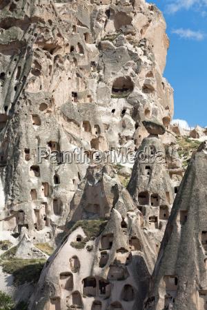 view of uchisar castle in cappadocia