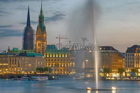 hamburg city at dusk