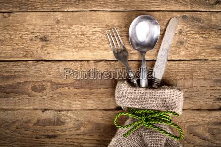 rustic cutlery in linen bag