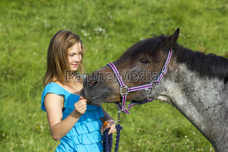 young girl giving a carrot to