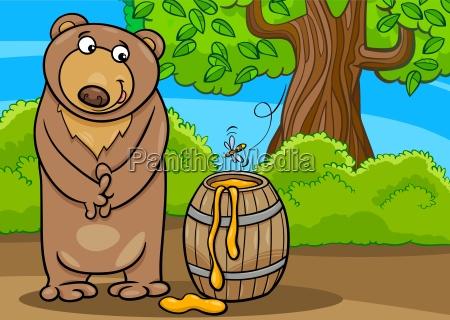 bear with honey cartoon illustration