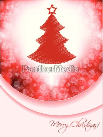 red christmas greeting card with scribbled